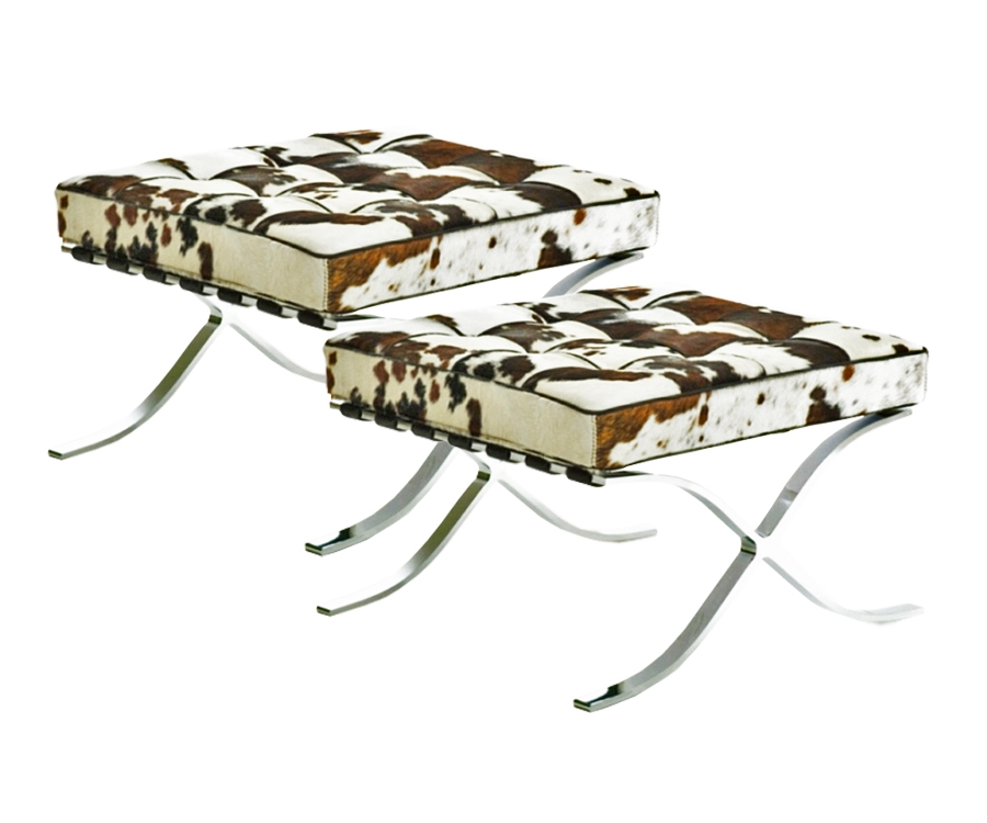 2 x Barcelona Stool Pony brown-white-black - stock