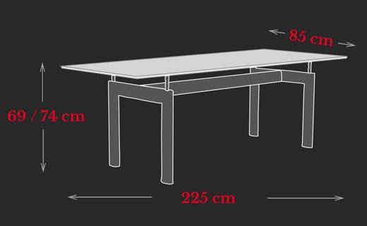 LC6 Tisch Le Corbusier Maße