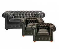 2 x Chesterfield Sessel + 1 x 2-er Sofa
