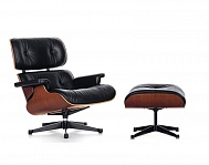 "Lounge Chair & Ottomane in leather ""SPECIAL BLACK"" stock"