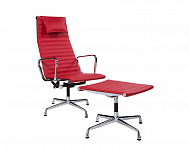 Aluminum Group Lounge Chair + Pouff